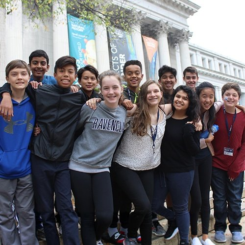 Middle school students at Smithsonian National History Museum in Washington, DC