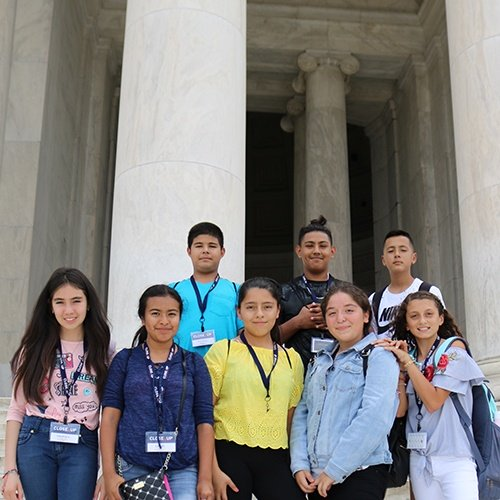 New immigrant and migrant middle school students at Thomas Jefferson Memorial in Washington, DC