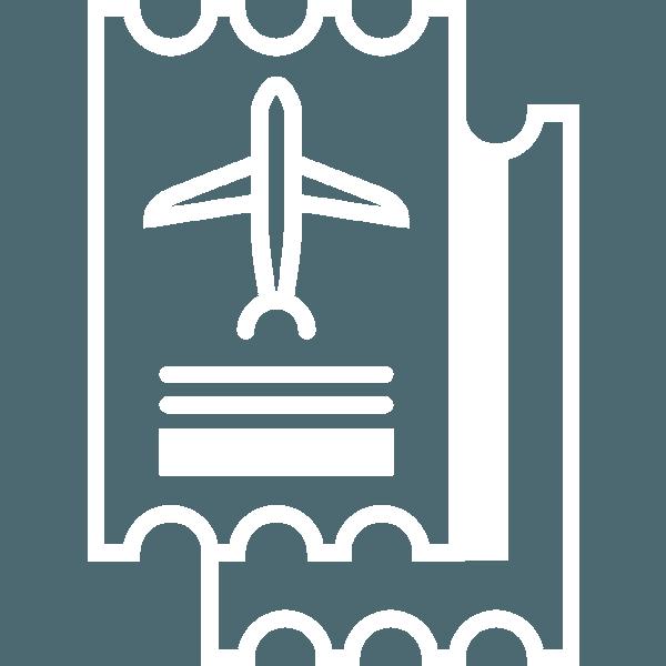 ticket stub with plane icon