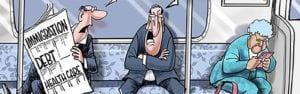 Political Cartoon immigration debt healthcare