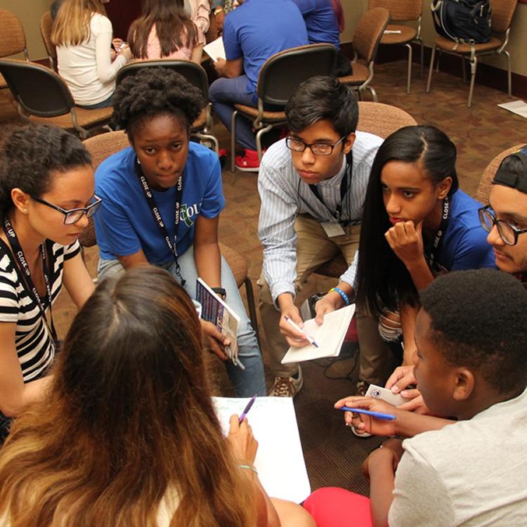 student workshop learning talking