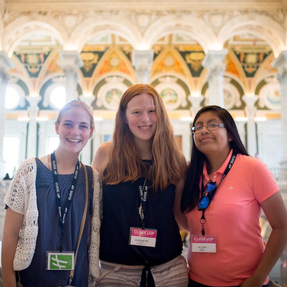 Middle school female students inside U.S. Capitol Building