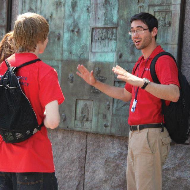 instructor teaching at FDR memorial