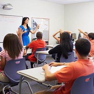 teacher teaching in classroom